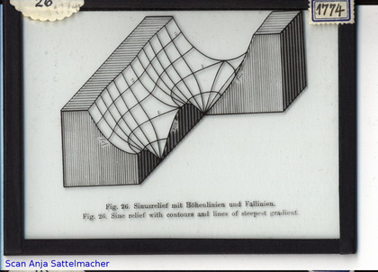 Slide: Sine relief with contours and lines of steepest gradient